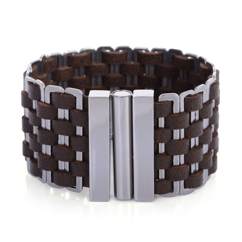 Stainless Steel Brown Cuff Bracelet Of 8 Inch