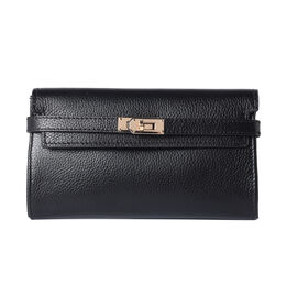 Super Soft  Genuine Leather Clutch RFID Wallet (Size 19x2x10cm)  - Black