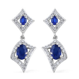 Blue Spinel (Ovl), Natural Cambodian Zircon Earrings (With Push Back) in Platinum Overlay Sterling S