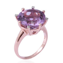 Rose De France Amethyst (Rnd 15 mm), Diamond Ring in Rose Gold and Platinum Overlay Sterling Silver