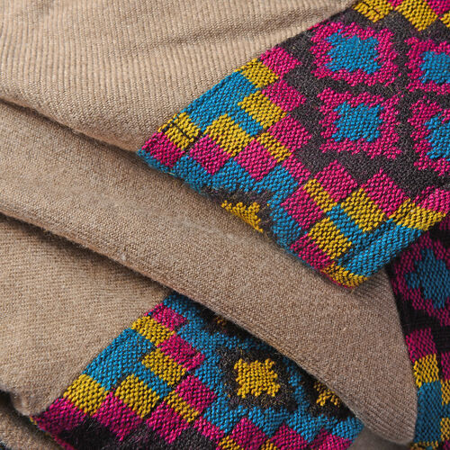 Hand Woven Traditional Kullu Weave Poncho with Woollen Border Free Size Khaki and Multi Colour