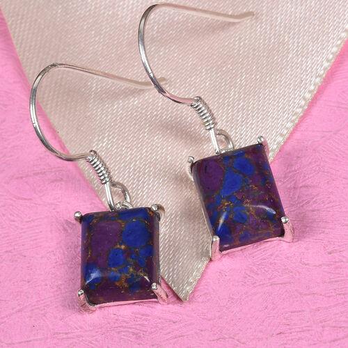 Purple Turquoise Hook Earrings in Sterling Silver 7.00 Ct.