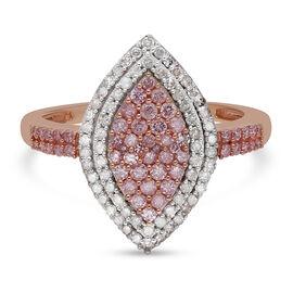 9K Rose Gold Pink Diamond and White Diamond Ring 1.00 Ct.