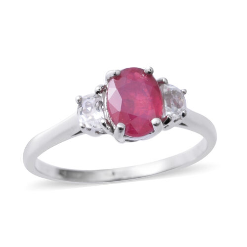 African Ruby (Ovl 1.80 Ct), White Topaz (D_Shape) Ring in Rhodium Overlay Sterling Silver 2.200 Ct.