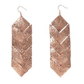 Shiny Hammered Hoook Earrings in Bronze Tone