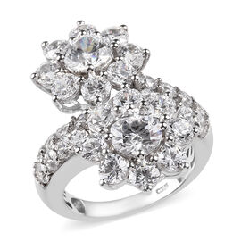 J Francis Made with SWAROVSKI ZIRCONIA Floral Cross Over Ring in Platinum Plated Silver 5.99 grams