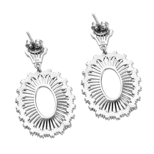 Diamond (Bgt) Earrings (with Push Back) in Platinum Overlay Sterling Silver