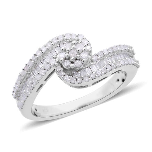 Diamond (Rnd) Ring in Platinum Overlay Sterling Silver 0.750 Ct.