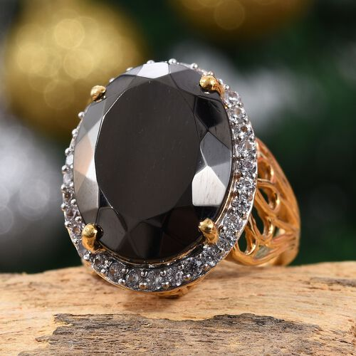Elite Shungite (Ovl 20x15 mm), Natural Cambodian Zircon Ring in 14K Gold Overlay Sterling Silver 12.00 Ct, Silver wt 6.70 Gms