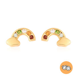 Rainbow Earrings for Kids with Multi Gemstone in Gold Plated Silver
