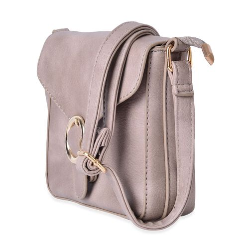 Grey Colour Small Size Crossbody Bag With Adjustable Shoulder Strap (Size 18x18x5 Cm)