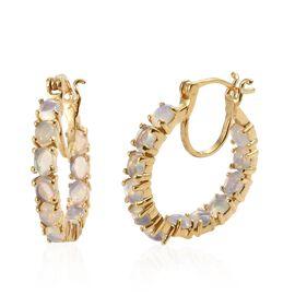 Ethiopian Welo Opal (Ovl) Hoop Earrings (with Clasp Lock) in 14K Gold Overlay Sterling Silver 2.500 Ct. Silver wt 4.70 Gms.