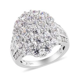 J Francis Platinum Overlay Sterling Silver Cluster Ring Made with SWAROVSKI ZIRCONIA 7.81 Ct.
