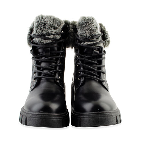 DOD - Black Patent Knitted Collar Hiker Boots (Size 6)