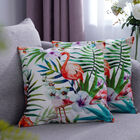 Set of 2 - Flamingo & Flower Pattern Cushion Cover with Zipper Closure (Size 43x43cm) - Green, White