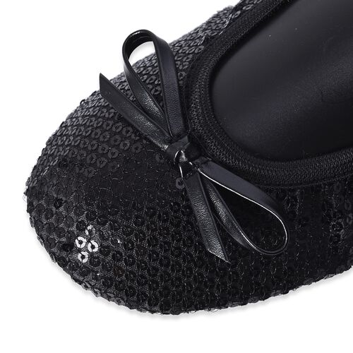 Set of 2 - Foldable Flat Ballet Shoe Each with Zipper Storage Pouch (UK 3-4) - Black and Metallic Silver
