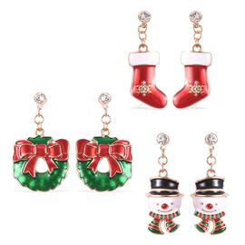 3 Piece Set - White Austrian Crystal (Rnd) Christmas Theme Enamelled Earrings (Snowman, Socks and Wr