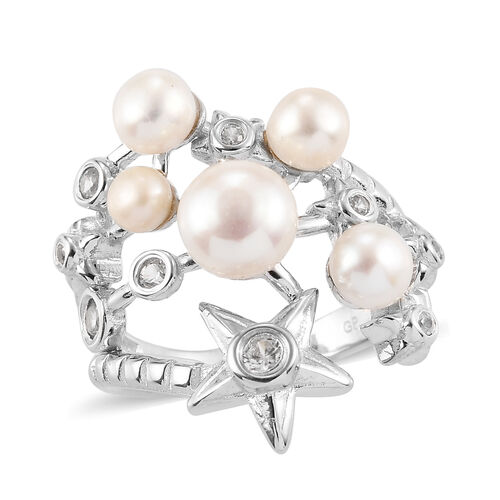 GP Freshwater Pearl, Natural Cambodian Zircon and Blue Sapphire Ring in Rhodium Overlay Sterling Sil