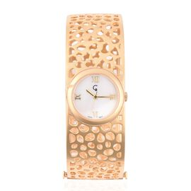 RACHEL GALLEY Yellow Gold Plated - Sterling Silver Lattice Bangle Swiss Movement Watch, Silver wt 44 Gms.