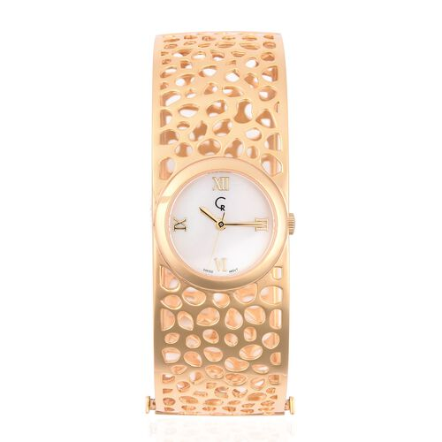 RACHEL GALLEY Yellow Gold Plated - Sterling Silver Lattice Bangle Swiss Movement Watch, Silver wt 42