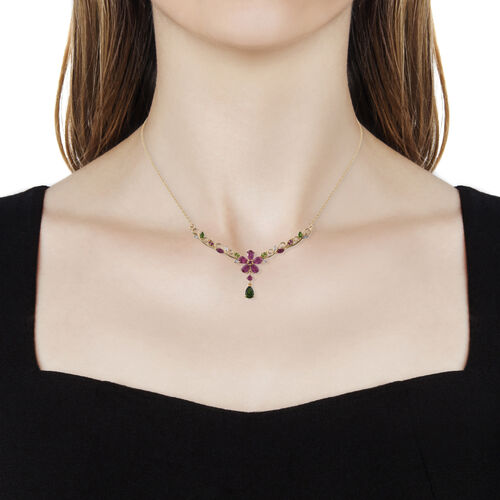 GP African Ruby (Pear), Burmese Ruby, Russian Diopside and Kanchanaburi Blue Sapphire Necklace (Size 18 with 2 inch Extender) in 14K Gold Overlay Sterling Silver 3.745 Ct, Silver wt 7.91 Gms.