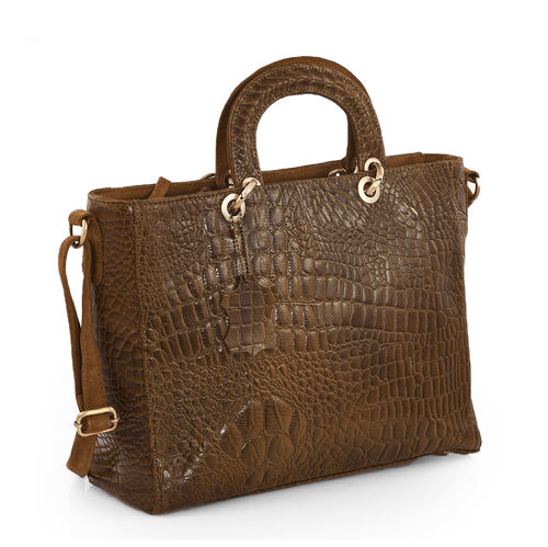 Limited Edition- 100% Genuine Leather Cognac Colour Croc Embossed RFID Protected Handbag (Size 41x36x28x11 Cm)