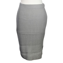 LA MAREY 100% Acrylic Ribbed Knit Skirt in Grey