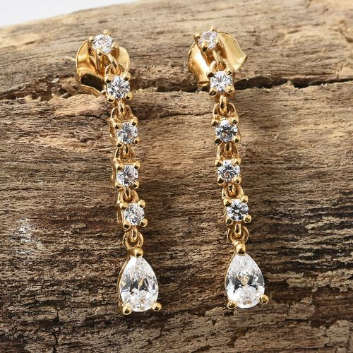 J Francis - 14K Gold Overlay Sterling Silver (Pear and Rnd) Drop Dangle Earrings (with Push Back) Made with SWAROVSKI ZIRCONIA