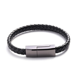 Black Braided Leather Bracelet (Size 8)