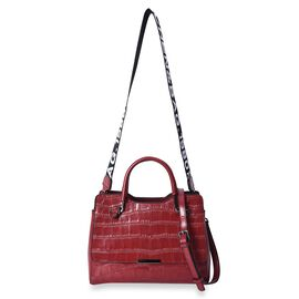 100% Genuine Leather Croc Embossed Tote Bag with Shoulder Strap (Size 28x13x21 Cm) - Red