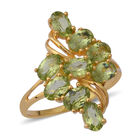 Hebei Peridot (Ovl) Ring (Size O) in Yellow Gold Overlay Sterling Silver 4.32 Ct.