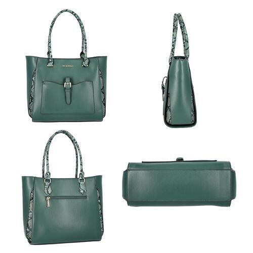 LOCK SOUL Snake Pattern Handbag with Detachable Shoulder Strap (38x16x30cm) - Dark Green