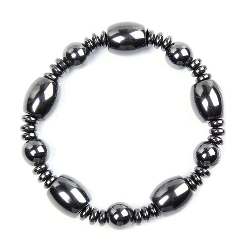 2 Piece Set - Hematite Stone Stretchable Bracelet (Size 6.5) and Necklace (Size 20 with Magnetic Lock) 840.00 Ct.
