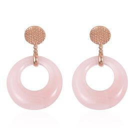 Rose Quartz Clip - On Earrings in Stainless Steel 40.000 Ct.