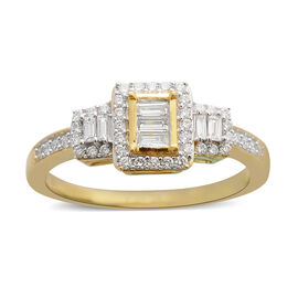 ILIANA 18K Yellow Gold IGI Certified Diamond (Bgt and Rnd) (SI /G-H) Ring 0.500 Ct.
