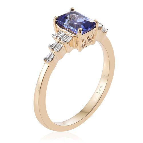 ILIANA 18K Y Gold AAA Tanzanite (Oct 1.00 Ct), Diamond (SI/G-H) Ring 1.150 Ct. Gold Wt. 3.50 Gms
