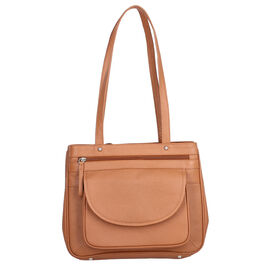 Super Soft 100% Genuine Nappa Leather Multi-Compartment Shoulder Bag in Tan (29x7.5x23cm)