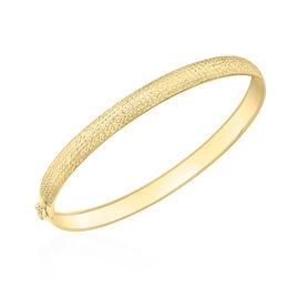 9K Yellow Gold Diamond Cut Flexible Bangle (Size 7) with Clasp Lock