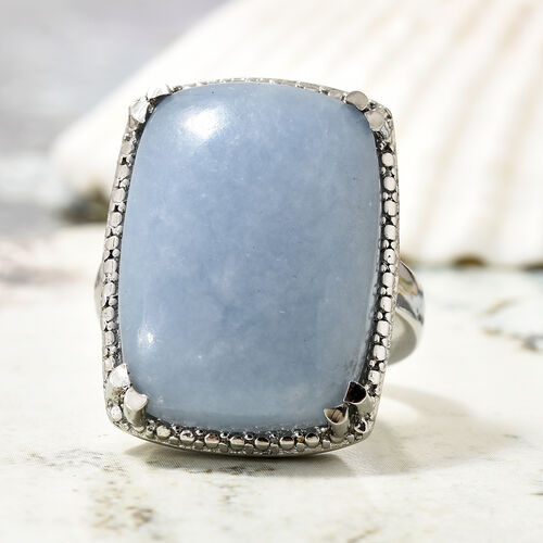 Mexican Angelite (Cush) Ring in Silver Bond 20.500 Ct