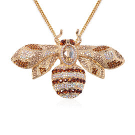 Simulated Champagne Diamond and Multi Colour Austrian Crystal Bee Pendant With Chain (Size 24) or Br