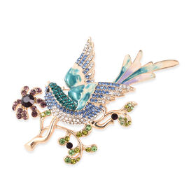 Multi Colour Austrian Crystal Enamelled Floral Vine with Bird Brooch in Gold Tone