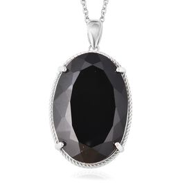 Natural Boi Ploi Black Spinel (Ovl 30x20 mm) Solitaire Pendant with Chain (Size 20) in Rhodium Overl