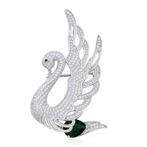 Signature Collection ELANZA AAA Simulated Emerald (Pear), Simulated White Diamond Swan Brooch and Pendant in Rhodium Plated Sterling Silver