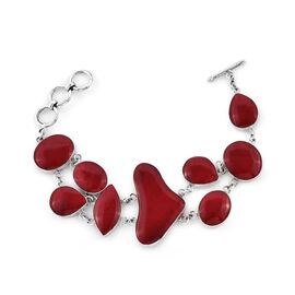 Royal Bali Collection- Coral Bracelet (Size 6.50 with 1 inch Extender) in Sterling Silver, Silver wt 16.00 Gms.