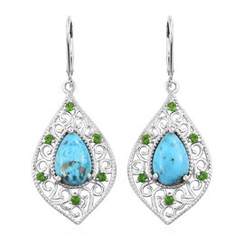 5.5 Ct Persian Turquoise and Russian Diopside Drop Earrings in Sterling Silver 5.5 Grams