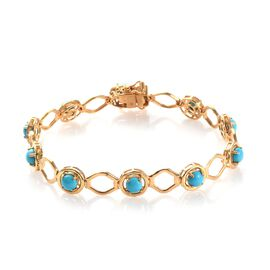 4.50 Ct Arizona Sleeping Beauty Turquoise Station Bracelet in Gold Plated Sterling Silver 7.5 Inch