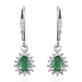 Kagem Zambian Emerald (Pear 6x4 mm), Natural Cambodian Zircon Lever Back Earrings in Platinum Overla