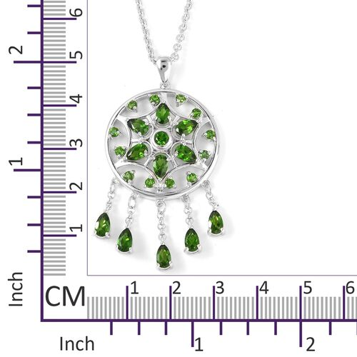 LucyQ Russian Diopside (Pear) Pendant with Chain in Rhodium Overlay Sterling Silver 3.130  Ct, Silver wt 10.17 Gms.