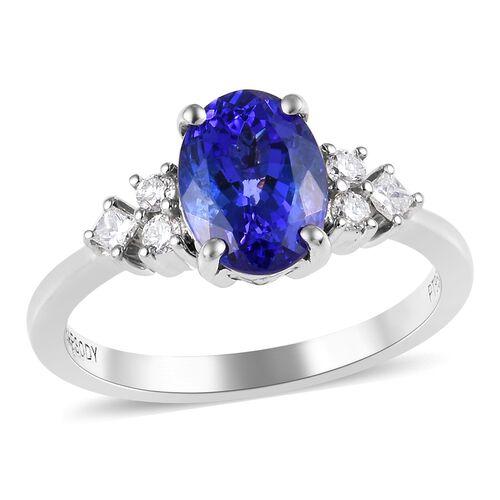 RHAPSODY 1.75 Ct AAAA Tanzanite and Diamond Solitaire Design Ring in 950 Platinum 4.64 Grams
