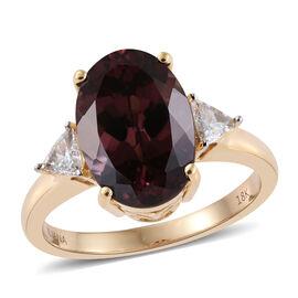 ILIANA 18K Yellow Gold AAA Colour Change Garnet (Ovl 5.75 Ct), Diamond Ring 6.000 Ct.